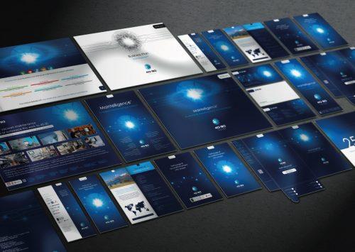 Déclinaison de l'identité visuelle de 40-30 sur divers supports imprimés.