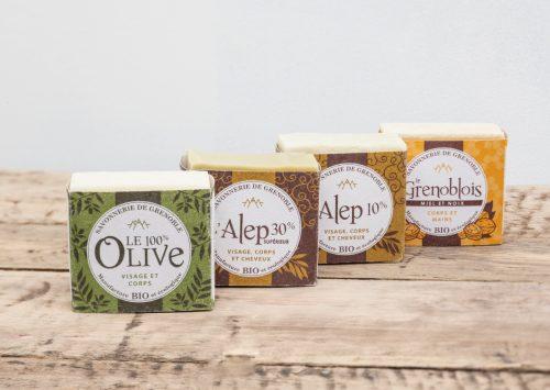 Packaging savons solides pour La Savonnerie de Grenoble.